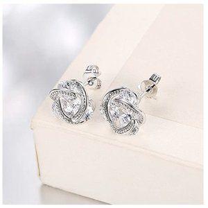 New! Women's 14K Gold Swarovski Knot Earrings